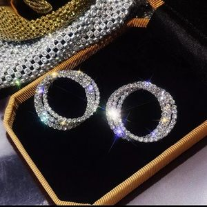 Rhinestone Silver Tone Circle Earrings